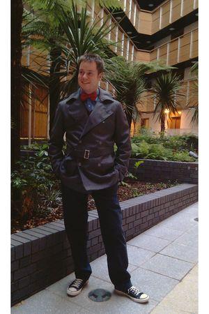 black Converse shoes - blue banana republic pants - red jaeger sweater - gray ja