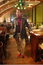 Red-kurt-geiger-shoes-heather-gray-jaeger-coat-blue-armani-shirt