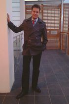 black Russell and Bromley shoes - black Gap pants - gray jaeger coat - blue Bala