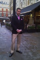 black Russell and Bromley shoes - light yellow Gap pants - black jaeger vest - p