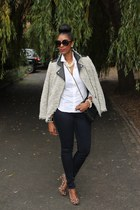 leather  wool Zara blazer - skinny Long Tall Sally jeans - white vintage shirt