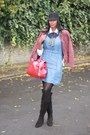Black-duo-boots-sky-blue-denim-shift-whistles-dress