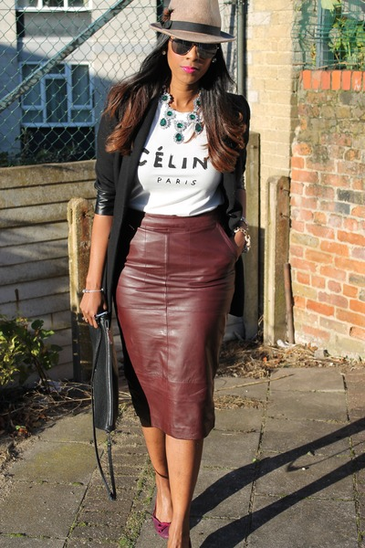 leather midi asos skirt - trilby Topshop hat