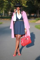 navy v neck flared Zara dress - bubble gum Marks and Spencer coat