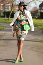 green floral print BANK FASHION dress - black fedora H&M hat