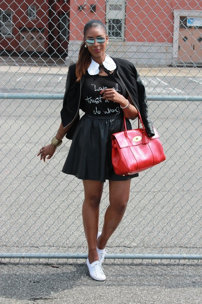 leather H&M skirt - leather crop H&M blazer - red bays water Mulberry bag