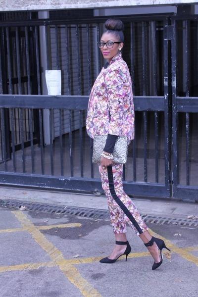 sequin clutch Primark bag - floral cotton Topshop blazer