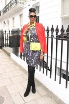 opry print Zamrie dress - suede stuart weitzman boots - Zara blazer