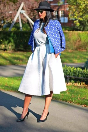 silver H&M skirt - fedora H&M hat - blue Marni blazer - blue asos bag