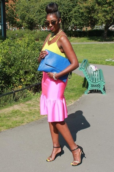 Zara necklace - Primark shoes - blue clutch asos bag