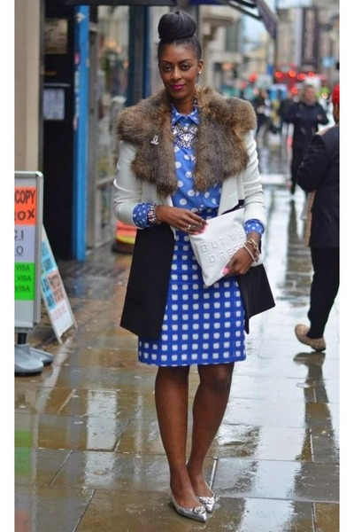 blue plaid pencil Topshop skirt - white monochrome River Island coat