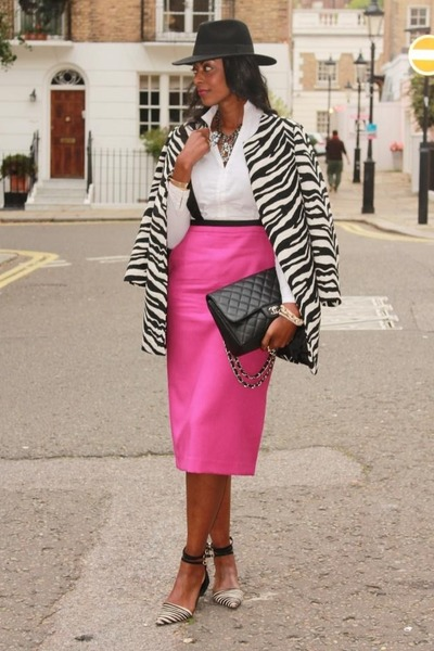 hot pink asos skirt - black zebra printed Zara coat - fedora H&M hat