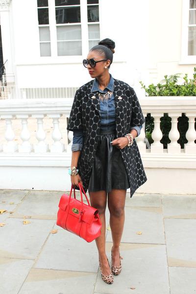 leather H&M skirt - spotted Marni coat - denim vintage shirt