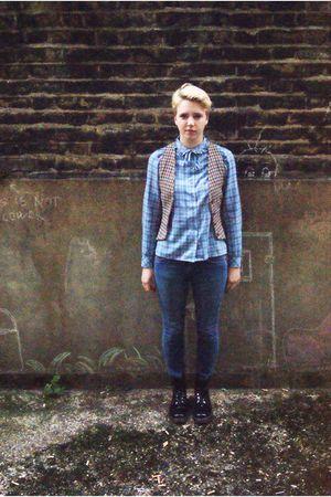 vintage blouse - vintage vest - Topshop jeans - doc martens boots