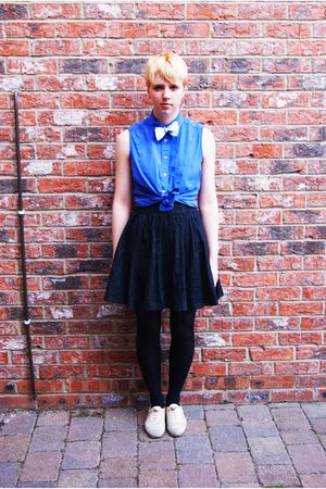vintage shirt - handmade by me tie - H&amp;M skirt - Topshop shoes