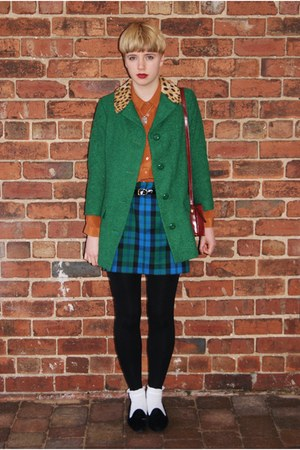 Topshop shirt - Topshop coat - vintage skirt - vintage flats