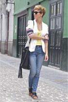 black leather Uterque bag - sky blue Zara jeans - white Local store blazer