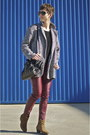 Dark-brown-suede-mango-boots-black-tweed-shana-coat