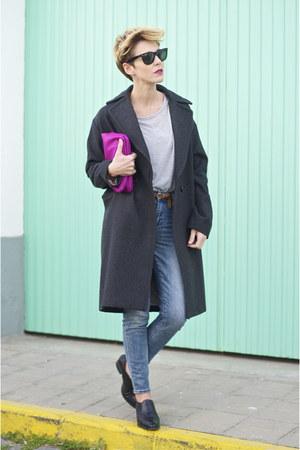 navy Zara jacket - black Uterque boots - dark gray H&M coat