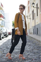 mustard Zara blazer - black Uterque bag - dark brown Garrett Leight sunglasses