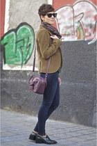 brown corduroy Massimo Dutti blazer - forest green Zara shoes