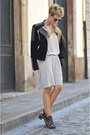 heather gray Zara dress - black Mango jacket - black Zara heels
