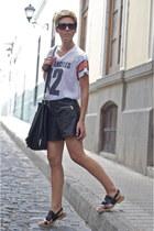 black Uterque bag - black Zara shorts - black Von Zipper sunglasses