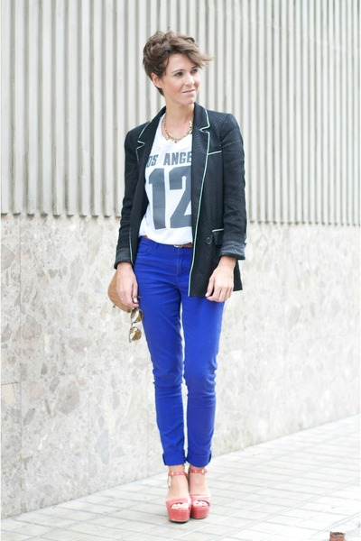 black Zara blazer - white Topshop t-shirt - blue Primark pants