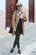 black Zara bag - bronze leather jacket Pepe Jeans coat - black Zara t-shirt