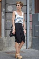 white striped Mango shirt - black H&M skirt - neutral Uterque heels