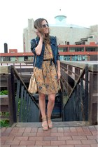 Local shop dress - navy jeans Primark jacket - camel Mango sandals