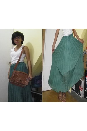 maxi skirt skirt - edgy bag bag - white top top - brown sandals