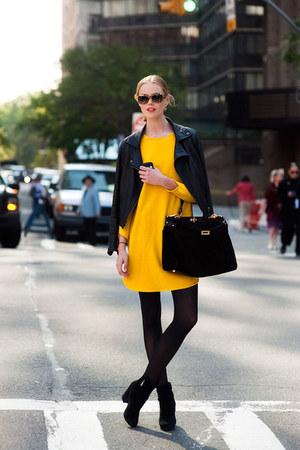 dress - jacket - leggings - bag - heels