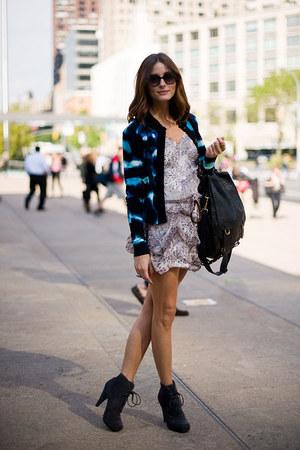 blazer - bag - sunglasses - romper - heels