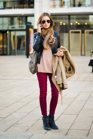 gray boots - red jeans - dark gray jacket - beige bag - neutral blouse