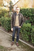 carl wingtip 1901 boots - Doctrine Denim jeans - faux leather Levis jacket