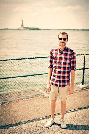 white chuck taylor Converse shoes - J Crew shirt - off white J Crew shorts - clu