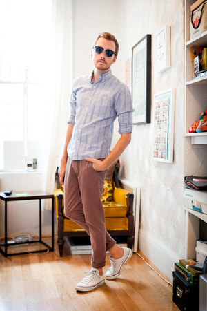 BDG shirt - chuck taylor Converse shoes - clubmasters Ray Ban sunglasses