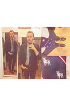 black Novacas boots - black blazer - heather gray American Eagle shirt - navy ti