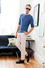 Black-bed-stu-shoes-white-zara-pants-blue-h-m-top