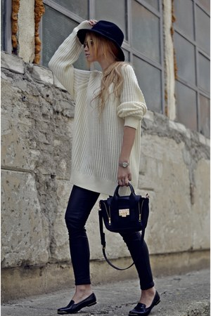 Zara sweater - Zara hat - new look bag - new look flats - Rolex watch