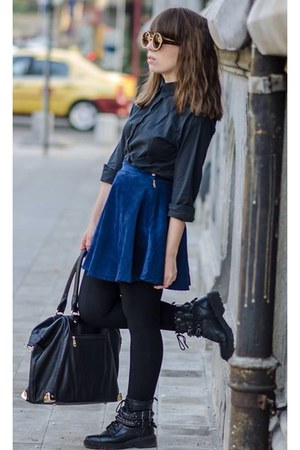 black boots - blue Romwecom skirt