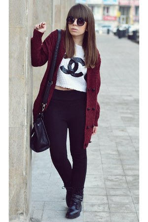black Bershka boots - black Zara leggings - black zeroUV sunglasses