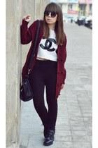 black Bershka boots - black Zara leggings - black zeroUV sunglasses