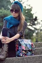 turquoise blue Accessorize bag - dark brown Bershka boots - black H&M tights