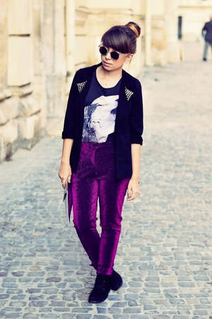 H&amp;M sunglasses - dark gray new look t-shirt - magenta H&amp;M pants
