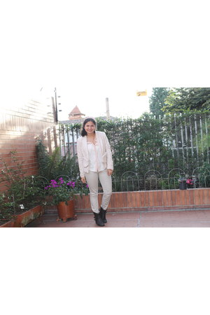 peach lace H&M jacket - beige silk H&M blouse - beige Mango pants