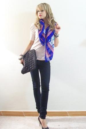 pink Zara blouse - black Zara Woman accessories - black Steve Madden shoes - whi