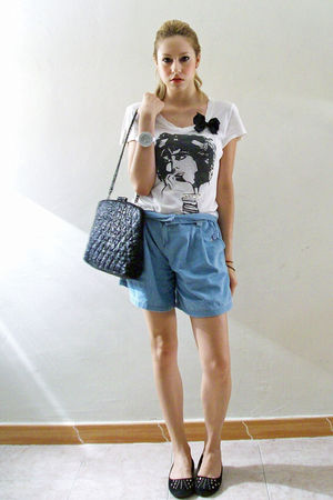 blue Oysho shorts - black Zara accessories - white Zara blouse - black pull&amp;bear