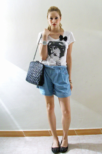 blue Oysho shorts - black Zara accessories - white Zara blouse - black pull&bear